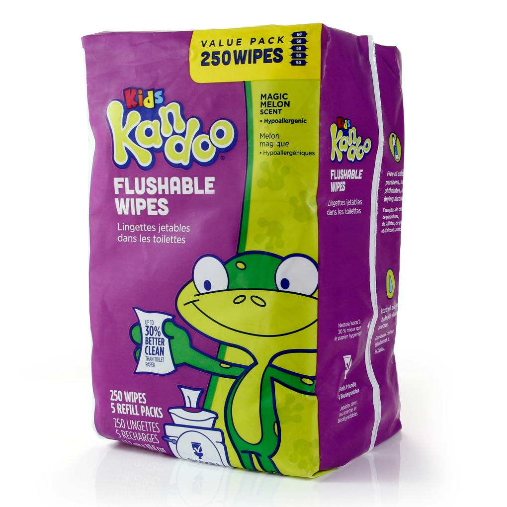Kandoo flushable wipes magic melon 250 count refills