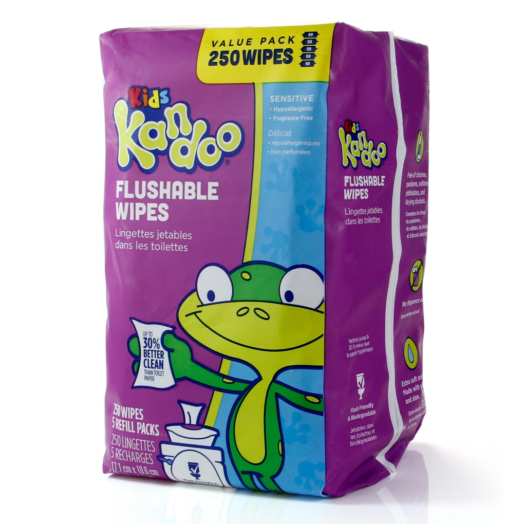 Kandoo flushable wipes sensitive 250 count refills