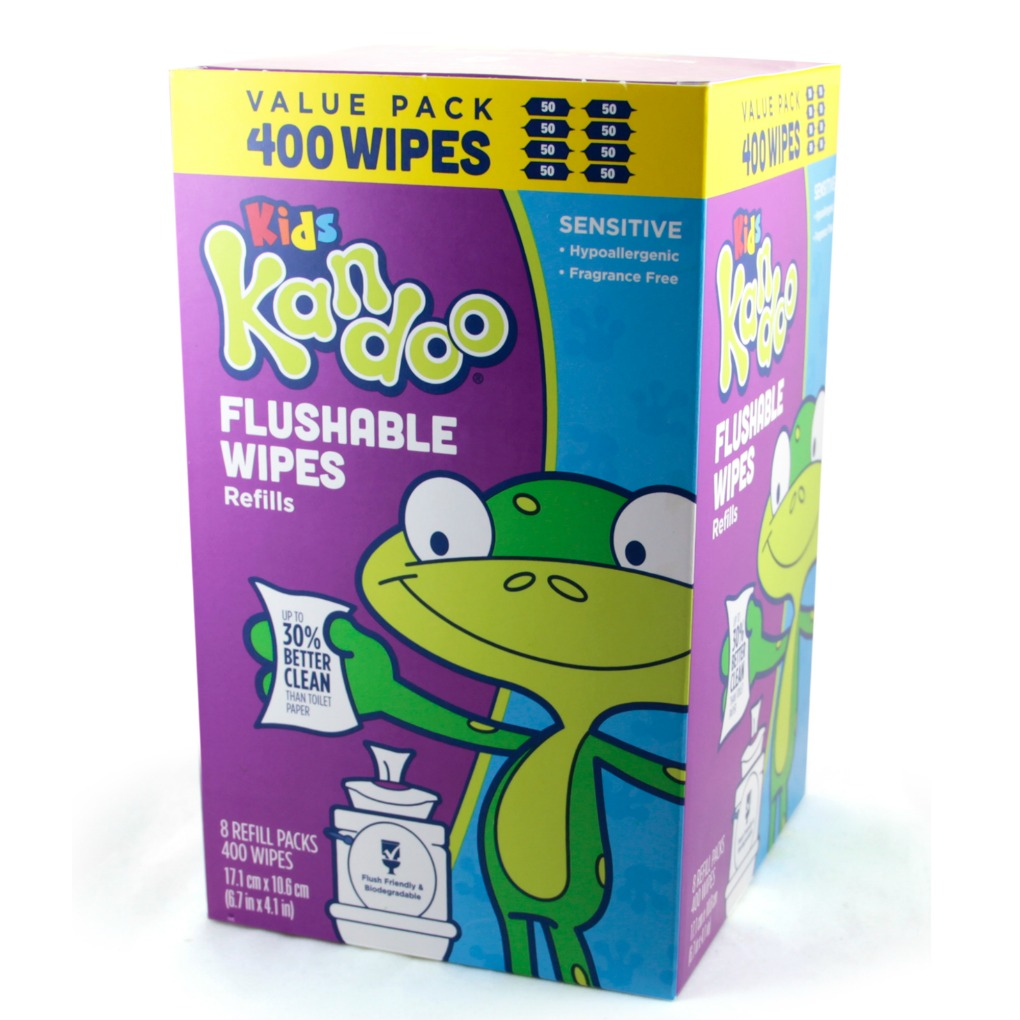 Kandoo flushable wipes sensitive 400 count refills turned