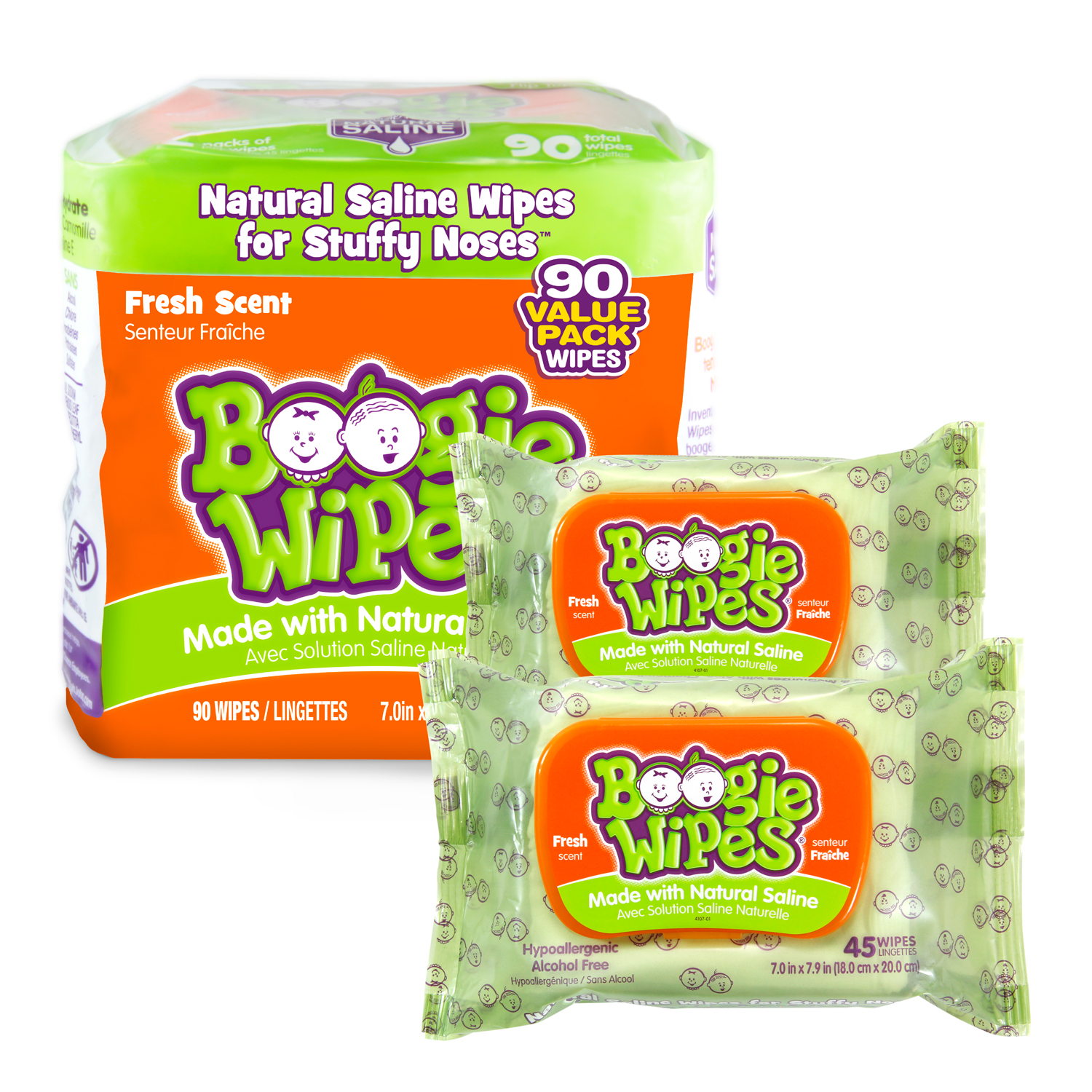 Boogie Wipes fresh scent 90 count value pack (2 packs of 45)
