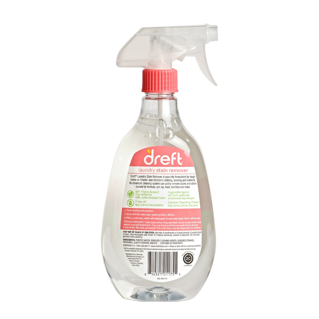 Dreft Laundry Stain remover spray bottle back