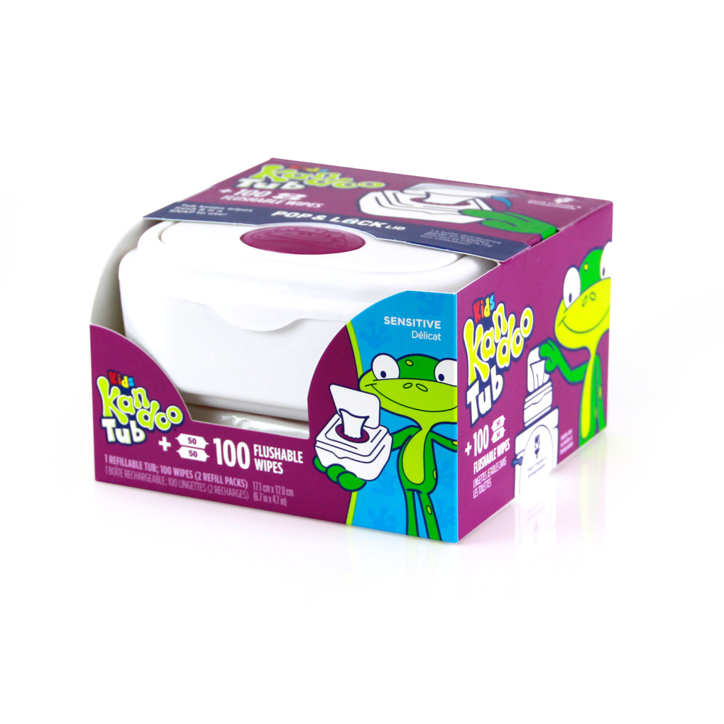 Kandoo Flushable wipes tub 100ct front