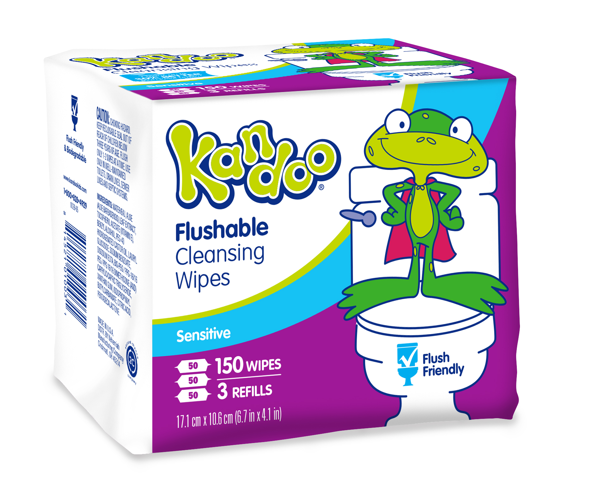 Kandoo flushable wipes sensitive 150 count