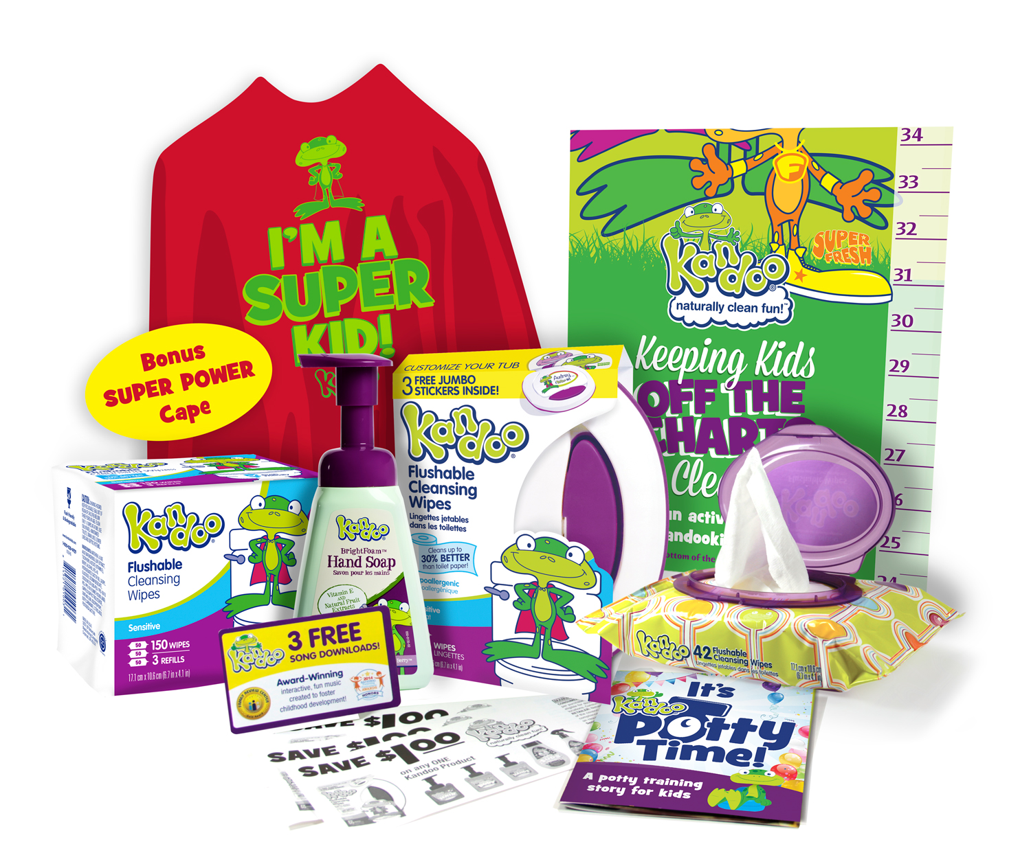 Kandoo Potty time pack with all products included. Bonus super power cape