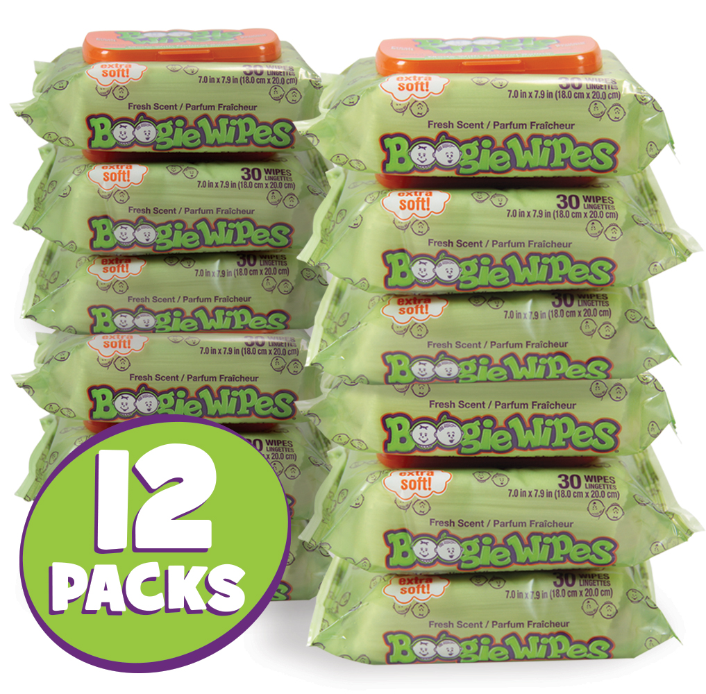 12 packs of 30 count fresh scent boogie wipes